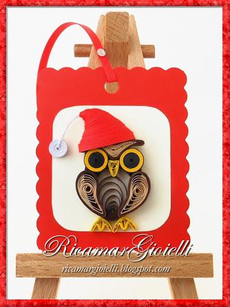 Segnalibri natalizi in quilling - Gufetto
