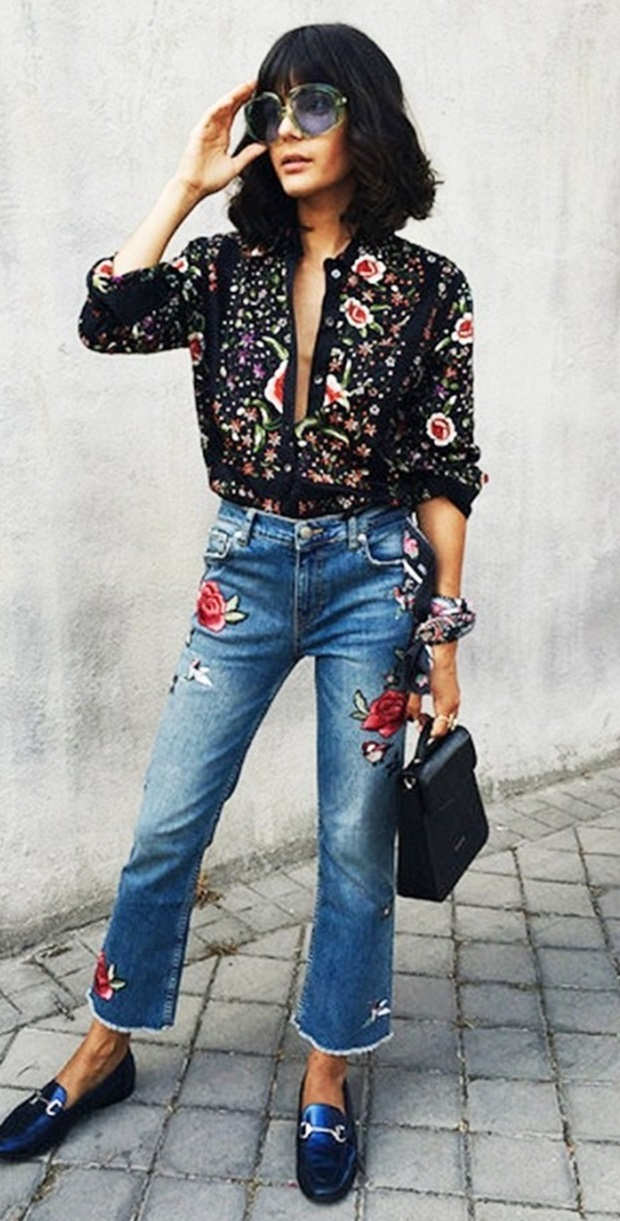 denim trends  / printed blouse + embroidered jeans + bag + loafers