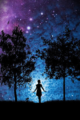 girl with starry background pic