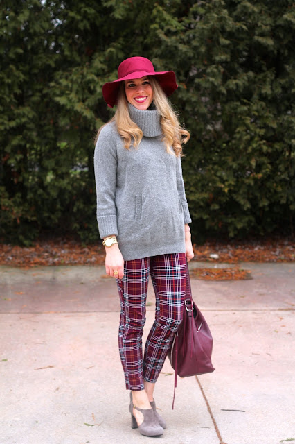 grey turtleneck sweater, plaid pants, cut out booties, burgundy bag, burgundy hat