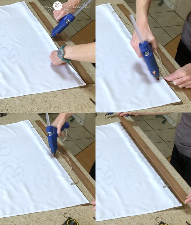 hot glue fabric to wood frame