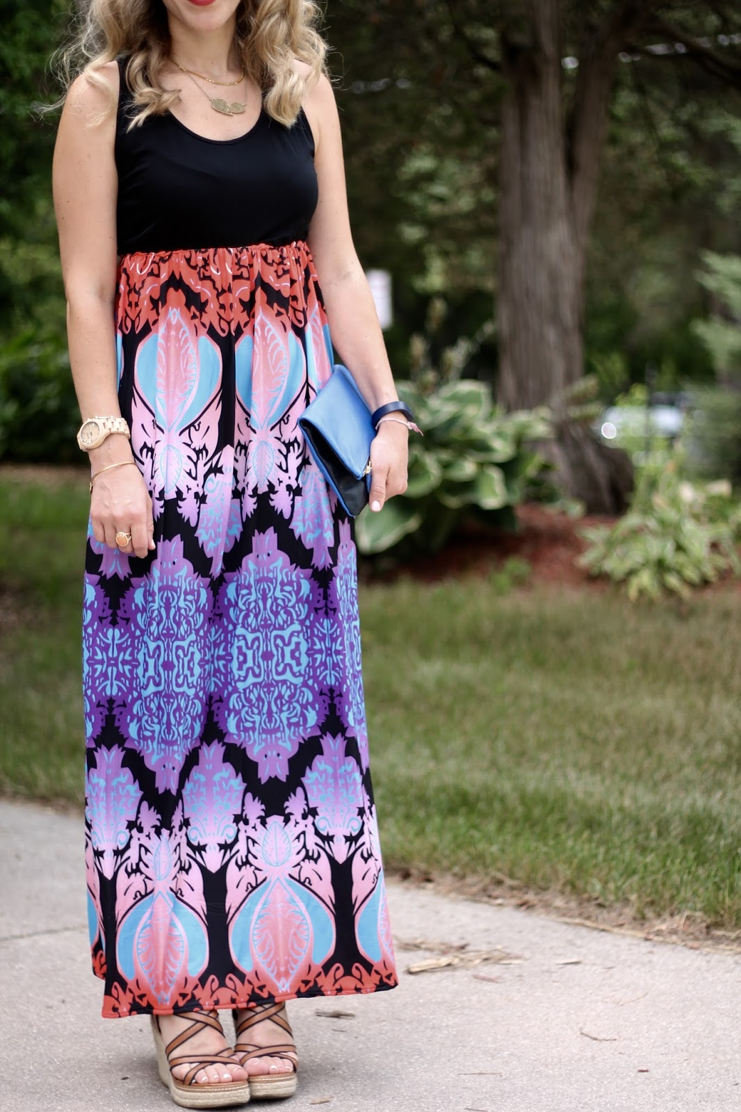 printed black maxi dress, blue Clare V. foldover clutch, wedges, summer maxi dress,