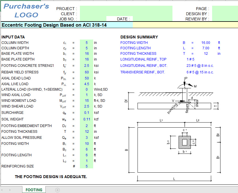 Eccentric Footing Design Sheet Based on ACI 318-14