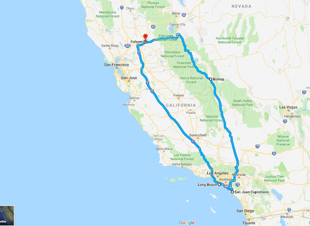 Map of route from Folsom to Long Beach and Orange County and back