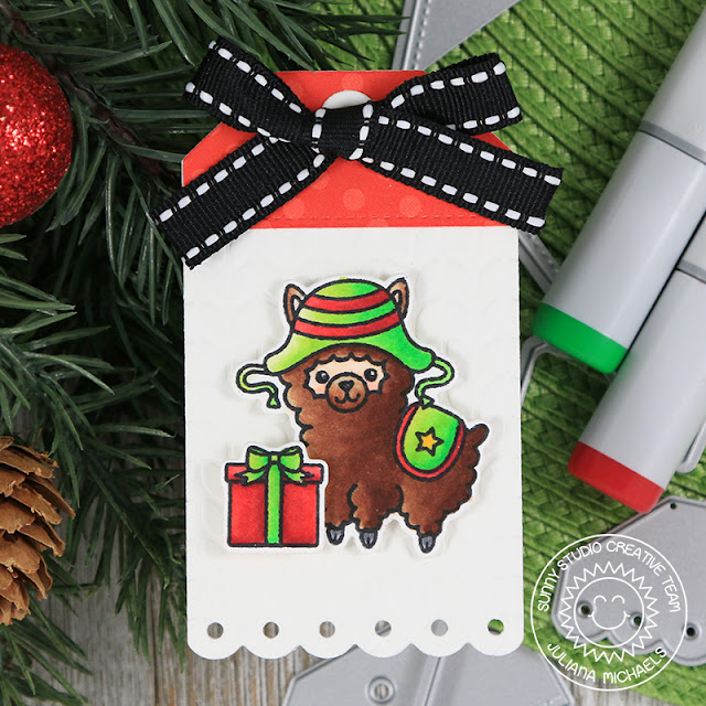 Christmas Gift Tag by Juliana Micheals featuring Sunny Studio Stamps Build A Tag No. 2 Dies, Alpaca Holiday Stamp Set, Cable Knit Embossing Folder and 6x6 Holiday Cheer Paper Pad