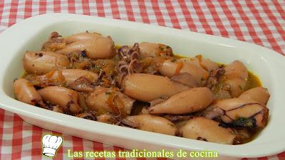 Calamares en salsa al vino blanco, receta fácil