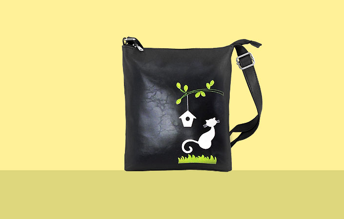 LAVISHY vegan bag with cat and bird house applique