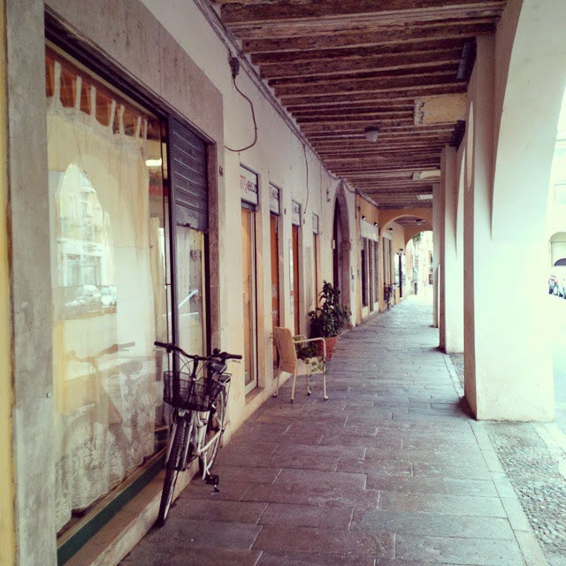 An arcaded street in Vicenza, Italy