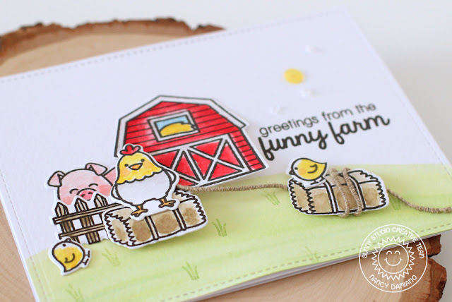 Sunny Studio Stamps: Barnyard Buddies Simple Farmyard Charm Card by Nancy Damiano