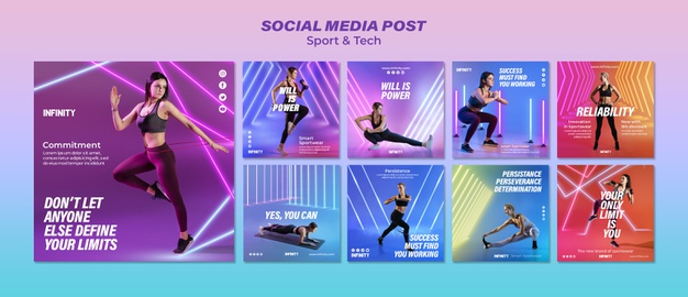 Instagram post collection for sports and exercise Free Psd