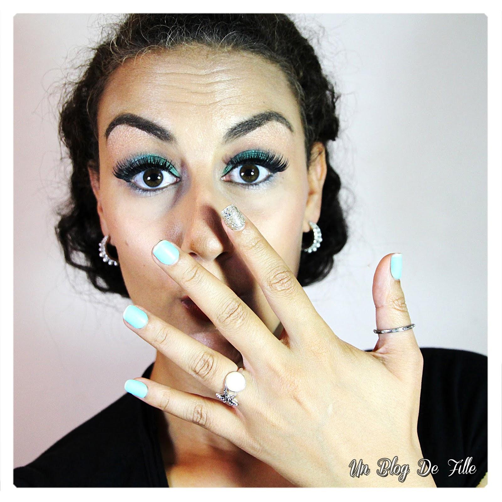 http://www.unblogdefille.fr/2018/07/maquillage-vert-menthe-et-argent-msc.html