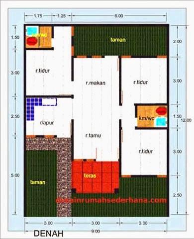gambar denah rumah luas tanah 200 m2 1