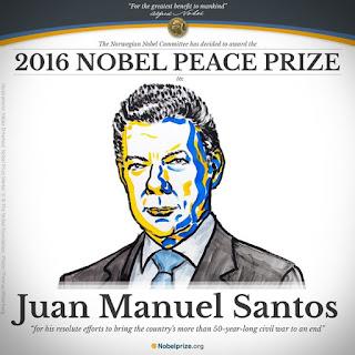 Prix Nobel de la paix 2016 président colombien Juan Manuel Santos