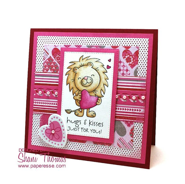 Valentine's Day card featuring Digistamp Boutique Alstair set stamp & sentiment, design by Paperesse.