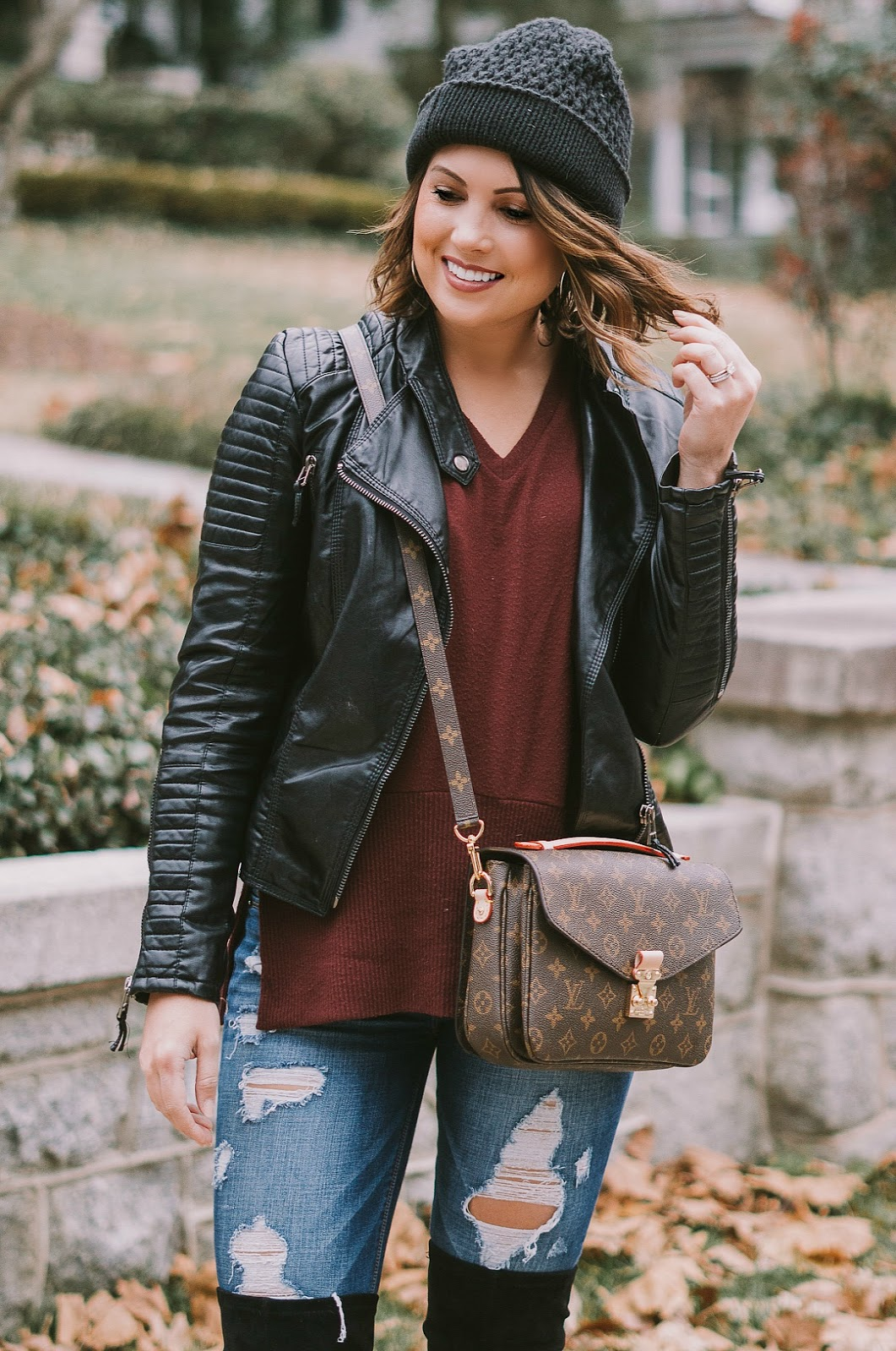 leather moto, beanie, winter fashion, nc photographer, greensboro photographer, life and messy hair, xo samantha brooke, sam brooke photo, samantha brooke photography, louis vuittin pochette metis, louis vuitton crossbody