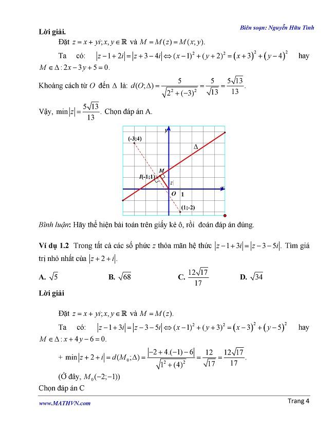 Giải toán trắc nghiệm cực trị số phức bằng phương pháp hình học