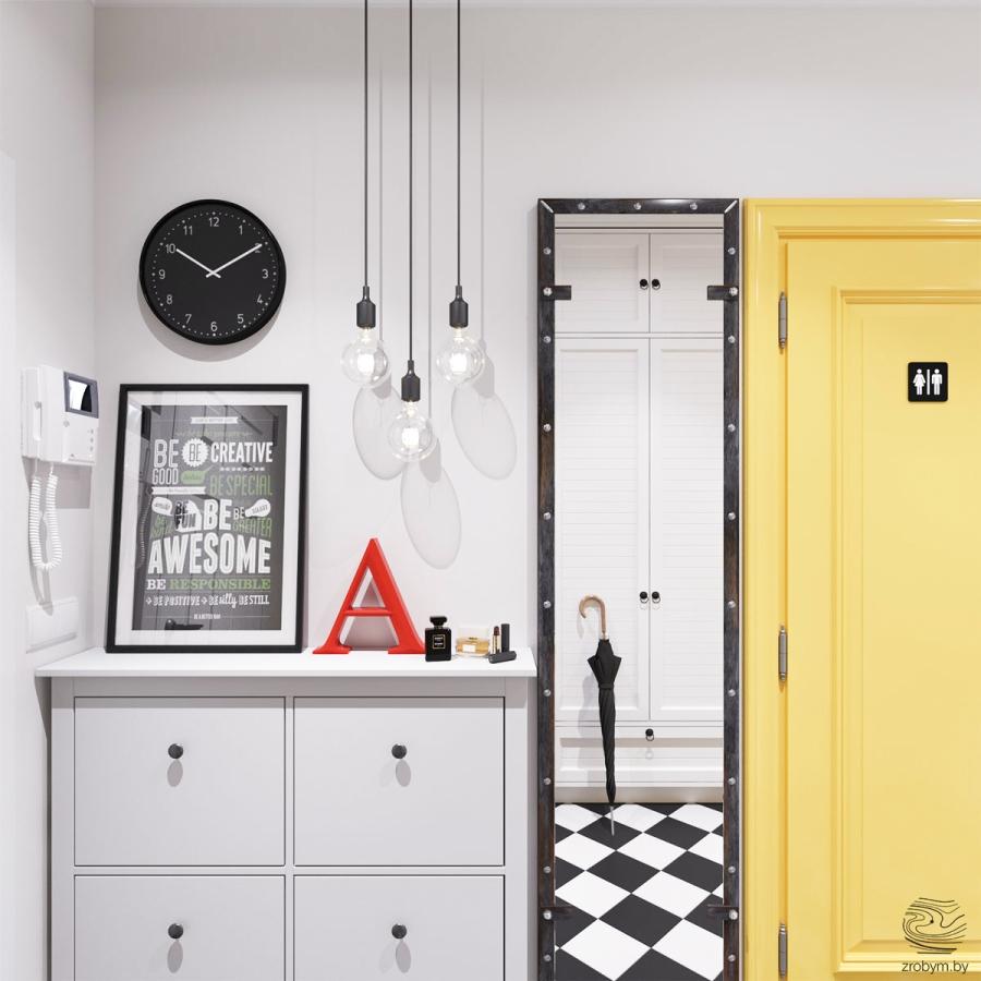 Kolorowe mieszkanie w Mińsku, wystrój wnętrz, wnętrza, urządzanie mieszkania, dom, home decor, dekoracje, aranżacje, biel, white, kolory, colors, przedpokój, hall
