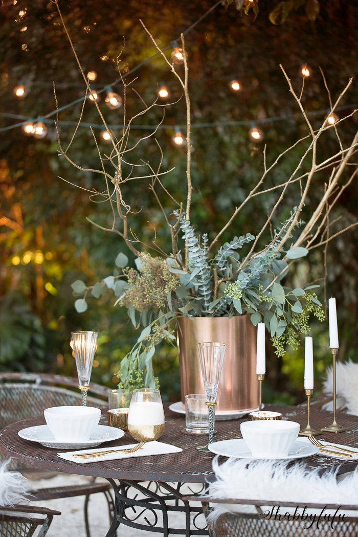 french style tablescape gold and white
