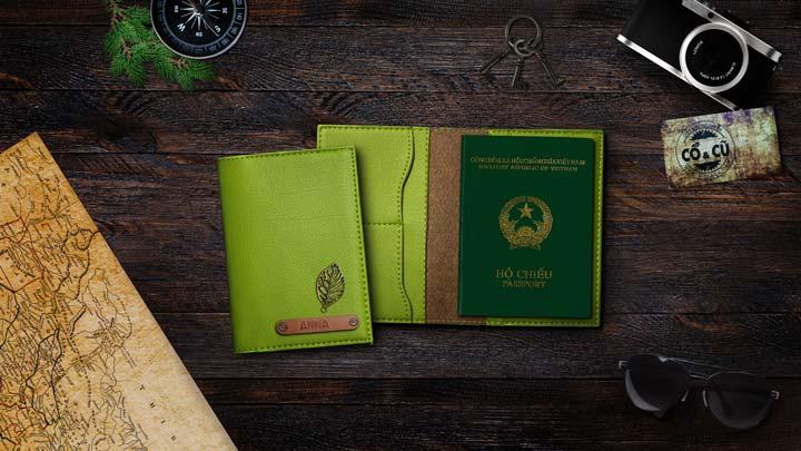 ví passport xanh cốm
