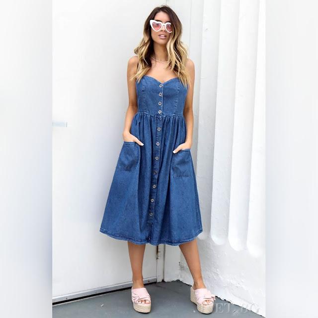 Μεσάτο μίντι μπλε φόρεμα TAIDA