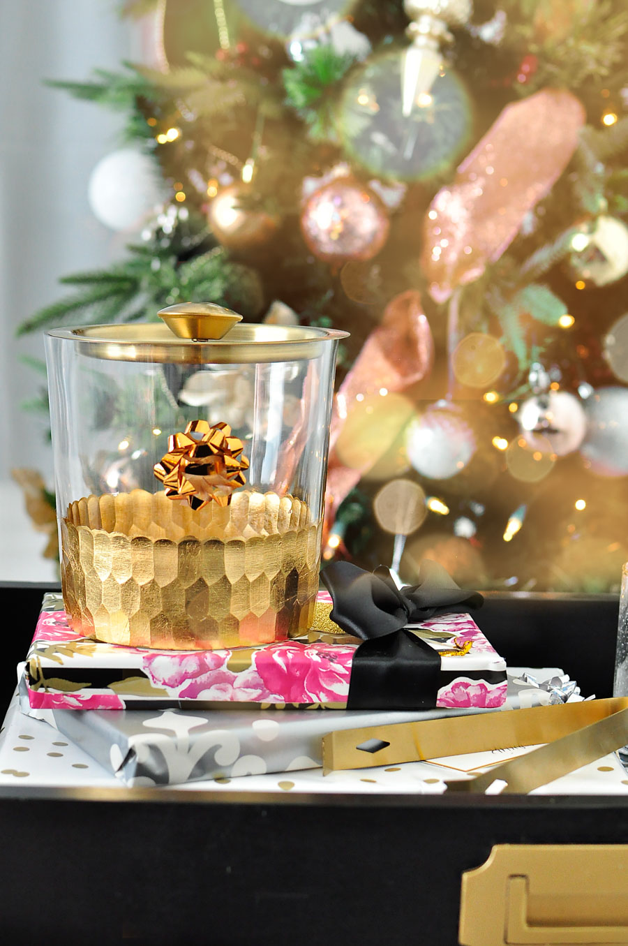 Gold ice bucket with gold tongs is the perfect hostess gift!
