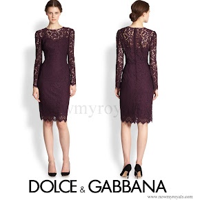 Crown Princess Mary wore Dolce and Gabbana Long Sleeve Floral Lace Scalloped Sheath Dress