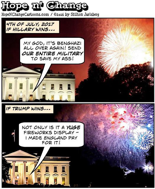 obama, obama jokes, political, humor, cartoon, conservative, hope n' change, hope and change, stilton jarlsberg, 4th of July, benghazi, hillary, trump