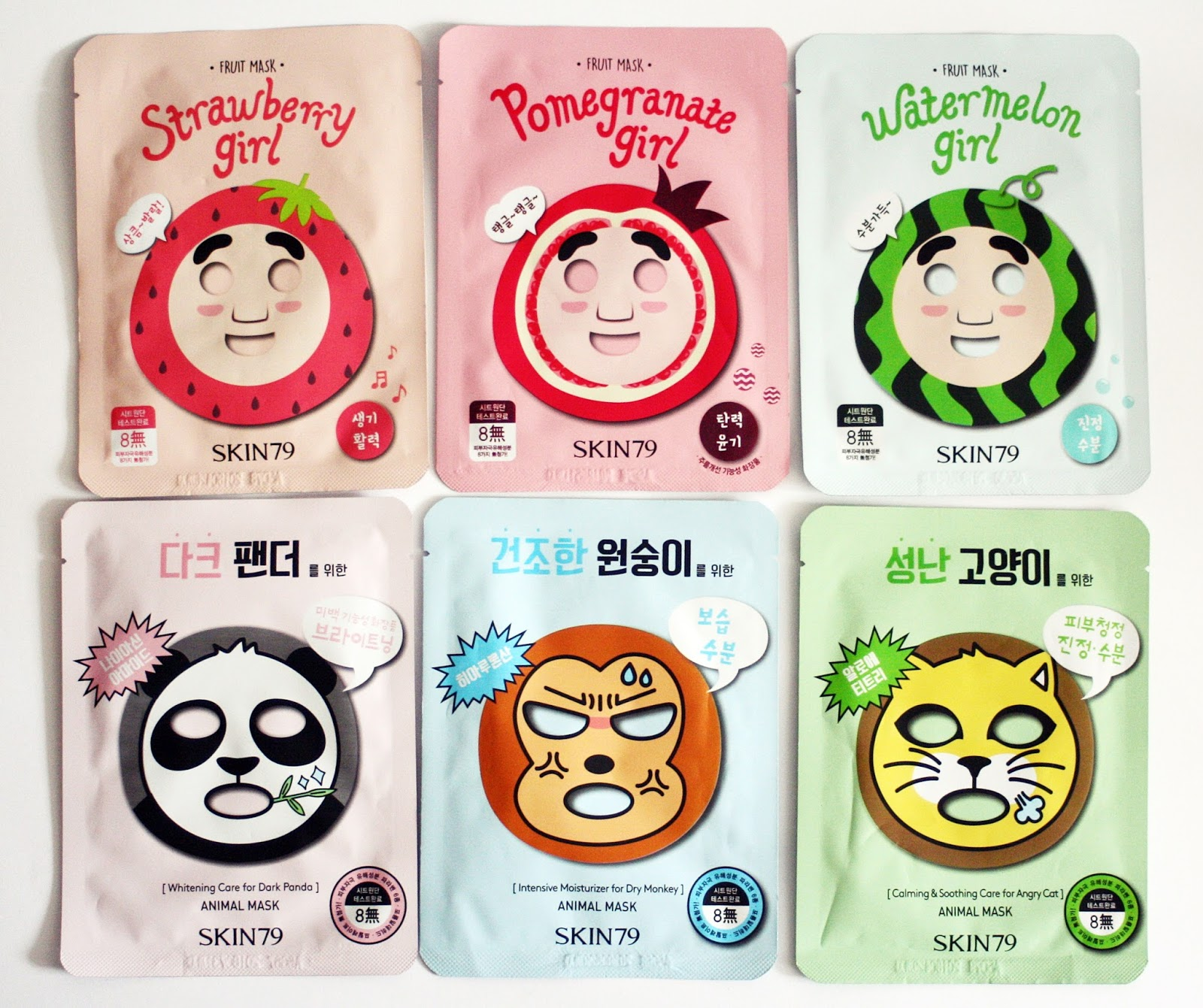 Skin79 Animals and Fruits Sheet Masks, Skin79 sheet mask, skin79 strawberry girl pomegrantegirl watermelon girl for dark panda for dry monkey for angry cat