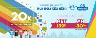 Tenten giảm giá tên miền .NET còn 139k, tên miền .VN giảm 30%
