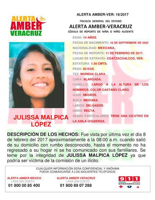 Activan Alerta Amber para Julissa Malpica Lopez en Coatzacoalcos Veracruz