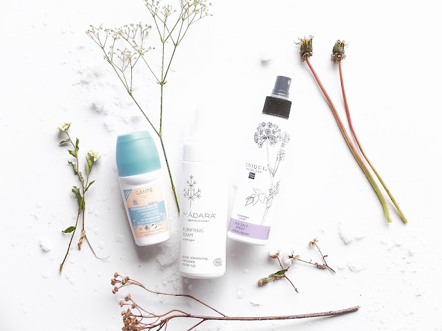 Sante deo, Unique haircare salt spray, Madara cleansing foam, Sugar Helsinki
