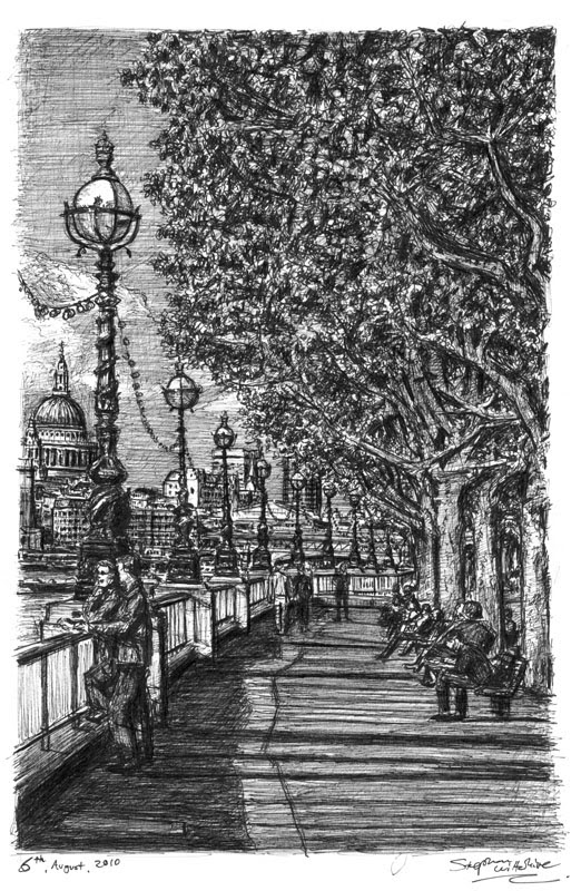 13-Riverside-walk-on-the-Southbank-Stephen-Wiltshire-Urban-Drawings-from-Memory-with-Detailed-Cityscapes-www-designstack-co