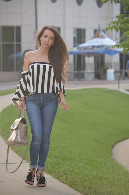 Striped off the shoulder Milly top