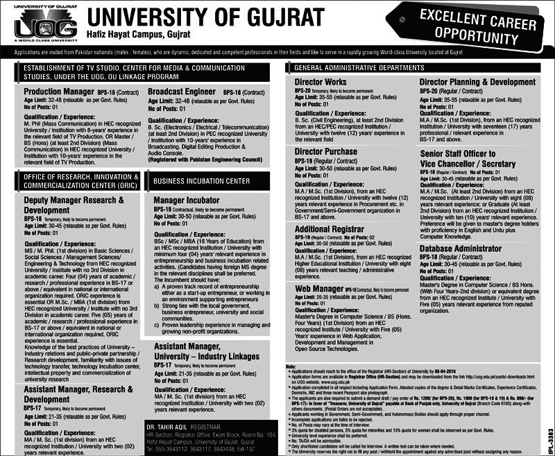 Jobs University of Gujrat- Punjab Government