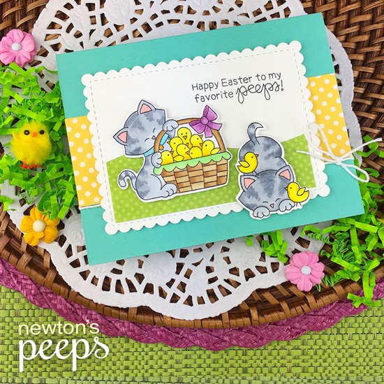 Kitty and chicks Easter Card by Jennifer Jackson | Newton's Peeps Stamp Set by Newton's Nook Designs #newtonsnook #handmade