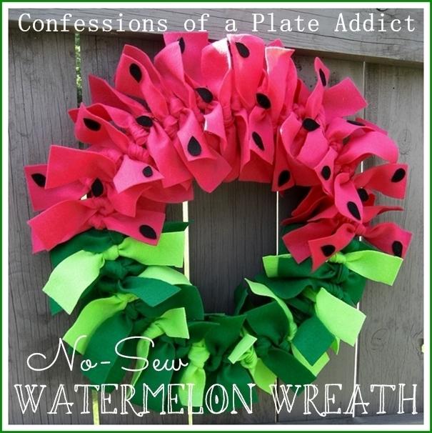 Happy Watermelon Day - no-sew watermelon wreath