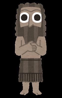 シュメール人像のイラスト