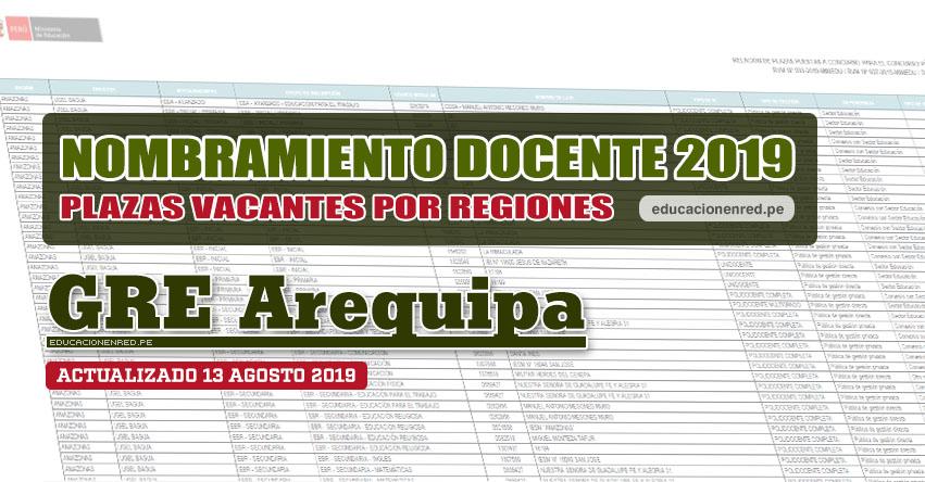 GRE Arequipa: Plazas Vacantes para Nombramiento Docente 2019 (.PDF ACTUALIZADO MARTES 13 AGOSTO) www.grearequipa.gob.pe