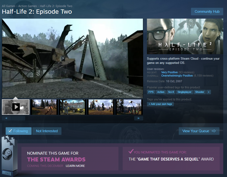 Los premios Steam dejan claro que todo el mundo quiere un Half Life 3