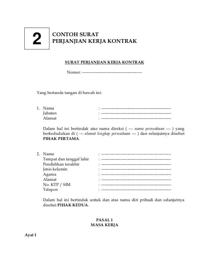 contoh surat kontrak kerja sederhana