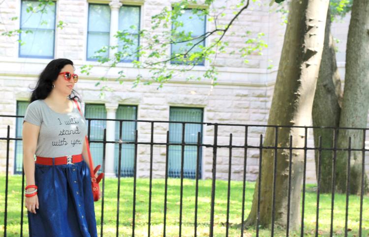 A Vintage Nerd, Retro Fashion Blog, Modcloth Jean Skirt, Retro Plus Size Fashion, New York Fashion Blogger