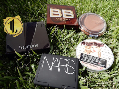 CoverGirl Queen 'Ebony Bronze', the Balm 'Mary-Lou Manizer', Nars 'Tribulation', Laura Mercier 'Ritual' and Bobbi Brown 'Bronze Glow'