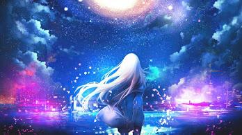 Anime, Girl, Night, Sky, Scenery, 4K, #4.2381