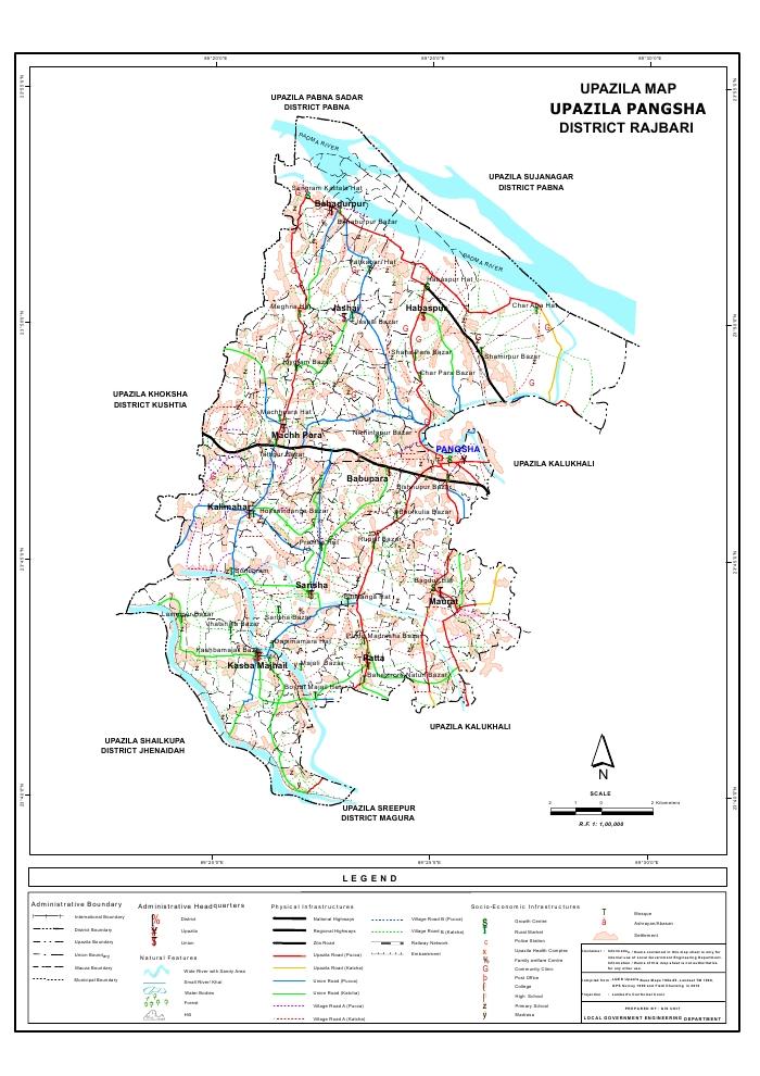 Pangsha Upazila Map Rajbari District Bangladesh