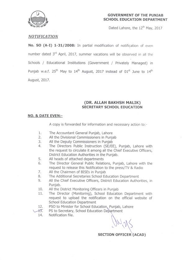 PUNJAB SCHOOLS SUMMER VACATIONS NOTIFICATION 2017