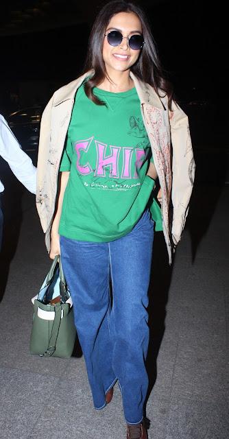Deepika Padukone leaves for US in style