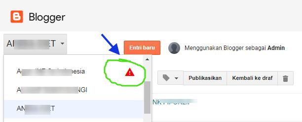 Tanda bahwa blog dibanned Google.