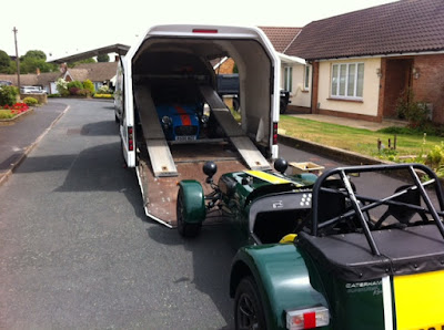 Phil Haywards R500 being loaded into the Caterham transporter