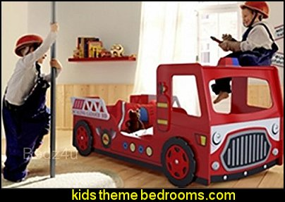 Fire Engine Novelty Kid's Bed  theme beds - novelty furniture - woodworking bed plans - unique furniture - novelty furniture - themed furniture - themed beds - castle themed bed - castle loft beds - boat bed - Pirate Ship Bed - BATMOBILE BED - train bed - princess carriage beds - Doll house Beds