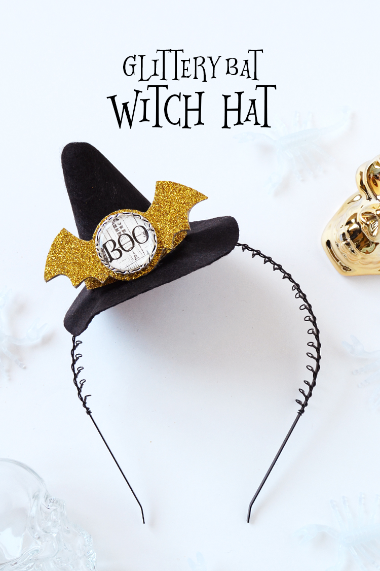 glittery bat witch hat at crafts unleashed